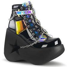 Black Wedge Star Platform Goth Punk Rave EDC Festival Womans Shoes Boots Demonia