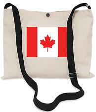Canadian Flag Canvas Musette Bag 40x30cm, 150cm Long black adjustable strap