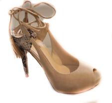 Guess flhom1sue07 beige sandalo tacco donna pitonato laccetti frangia sandales