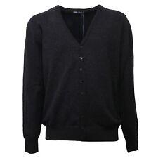 C0603 maglione uomo DANIELE ALESSANDRINI cardigan lana cotta nero sweater men