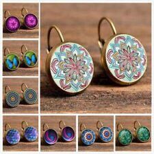 Vintage Retro Earrings For Women Fashion Patten Flower Stud Earrings