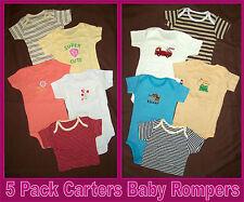 CARTERS BABY 5 Pk BODYSUITS ROMPERS - Boy or Girl ONESIES - 3 6 9 12 mths - NEW