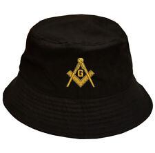 MASON FREEMASON MASONIC LOGO EMBROIDERED Black Bucket Hat 100% cotton