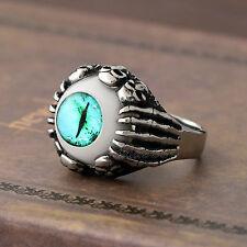 Men's Gothic Biker Skull Skeleton Claw Turquoise Cat Eye Stainless Steel Ring