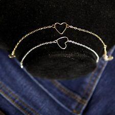 Women's Dainty Gold Silver Plated Heart Love Charm Bracelet Jewellery Gift UK