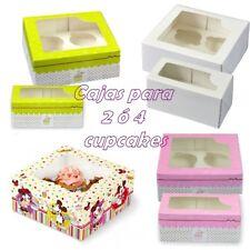 Caja para 2 ó 4 cupcakes blanca rosa verde o de Mickey y Minnie Mouse