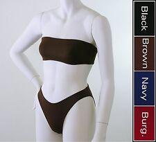 80s 90s High Leg Bikini Bottom and Bandeau Top in Brown, Black, Navy, Burgundy