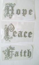 RELIGION  GOTHIC HOPE PEACE FAITH RHINESTONE IRON ON APPLIQUE / HOT FIX TRANSFER
