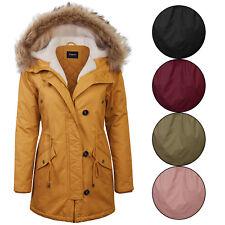 KOGMO Women's Long Anorak Coat Fur Trim Hoodie Jacket with Fuax Fur Lined