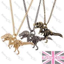 DINOSAUR skeleton RAPTOR PENDANT NECKLACE short chain BLACK/BRASS/GOLD fashion