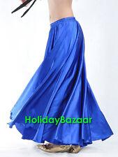Royal Blue Women Lady Satin Full Circle Belly Dance Skirt Costume Tribal S~3XL