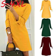 Womens Long Sleeve Straigth Dress Top Ladies  Mini Jumpers Tunic Dress Size 8-20