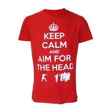 Darkside Ropa Keep Calm apunta a la cabeza Zombies Rojo Camiseta de manga corta