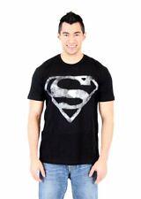 Adult Men's DC Comics Hero Superman Smoke Shield Logo Emblem Black T-shirt Tee