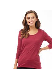 Womens Board Angels T-Shirt Ladies 3/4 Sleeve  Plain Pocket Top Red