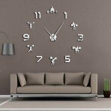 Clock Mirror Effect Wall Clocks Fitness Patterned Watch Frameless Home Decor New