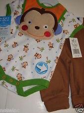Bon Bebe Infant Baby Boy's 3pc Set Pant Bodysuit Bib Lil' Monkey 0-3 3-6 6-9 NWT