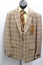 Mens Steve Harvey Suit Tan and Brown Plaid 3 Piece Classic Vested 118711SHS