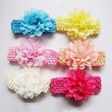 Haarband elastisch mit Blume Poeni Haarschmuck  Headband Chiffon  Kinderhaarband