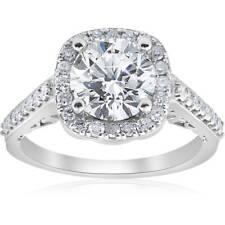 3 ct Diamond (2ct center) Cushion Halo Engagement Ring 14k White Gold Enhanced