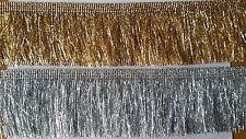 Borte (€4,45/m) sehr feine Fransenborte 1 Meter weich Lurex gold und silber