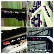 8 Personalised bike frame/helmet Name Stickers Decals + Flag.The BEST & ORIGINAL