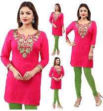 UK STOCK - Pink Rayon Cotton Bolloywood Kurti Tunic Kurta Top Shirt Dress EY01B