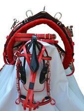 NEW BIOTHANE QUICK HITCH HORSE HARNESS BLACK & RED FULL,COB,PONY,SHETLAND