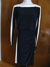 Ralph Lauren Women's navy white bodice overlay detailed NWT dress size 10 14