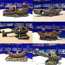 Small Wreck Aquarium Fish Ornament  Plane ~ Submarine ~ Helicopter ~ Boat ~ Ship