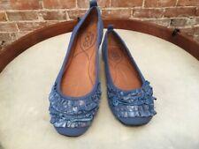 POE Maya Blue Leather Ruffle Ballet Flat New
