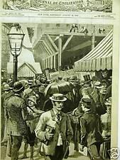 BROOKLYN BRIDGE ENTRANCE JAM 1885 Antique Print Matted