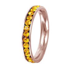 Stainless Steel Rose Gold Plated Eternity Citrine November Birthstone Ring 3MM
