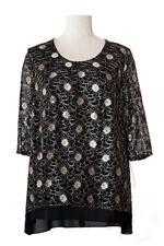 Damen Übergröße T-Shirt Bluse Top Shirt Longshirt Tunika Oberteil Spitze 50-58