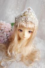 Handwork Cross Crown White Hair Accessory for 1/3 1/4 BJD DD MSD LUTS DZ DK Doll