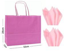 Light Pink Landscape Large Paper Party Gift Bags ~ Boutique Shop Bag & Tissue