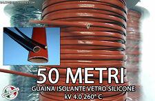 GUAINA ISOLANTE VETRO SILICONE ALTE TEMPERATURE bobina 50 Metri 4000V 260° C
