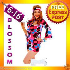 G86 60s 70s Retro Hippie Girl Disco Dancing Groovy Fancy Dress Hens Costume