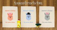 PERSONALISED LLAMA BOW HAT LUXURIOUS TEA TOWEL 100% COTTON  GIFT XMAS