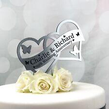 Wedding Cake Topper personalizzato decorazione BOMBONIERA Cuore in specchio, argento, oro