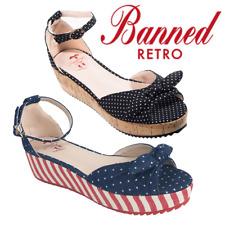 Banned Apparel Riri West Vintage Retro Denim Bow Polka Dot Flats Platform Heel