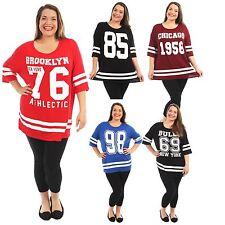 Neue Damen Übergrößen sackartige Baseball Varsity T-Shirt Oberteile 40-54