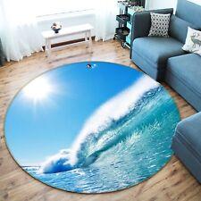 3D Sea Wave 5 Non Slip Rug Mat Room Mat Round Elegant Photo Carpet US Summer