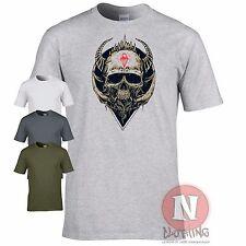 Skull design biker military emo goth T-shirt World of war