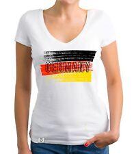 Damen T-Shirt V-Neck - WM EM - Germany Farbstreifen - Fußball Deutschland Flagge
