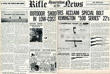 1952 Remington Rifle News 2 Page Print Ad Model 500 Series 22 514 512 511 510
