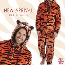 Mens Adult 1Onesie Animal Tiger Fleece Sleepsuit Costume Hooded Zip All In One