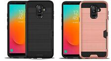 For Samsung On8 (2018) J810G Side Card Holder Brushed Metal Hybrid Case Cover