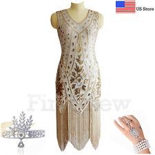 1920s Flapper Dress Great Gatsby Cocktail Arts Deco Sequins Fringe Party Dresses
