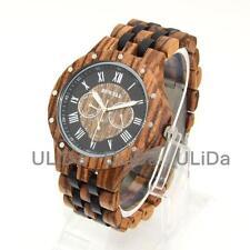 Multifunction Calendar Week Roman Numeral Men Sandalwood Quartz Wooden Watches